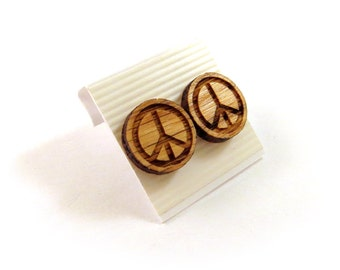 Peace Sign Oak Wooden Post Earrings - Sustainable Wood Ear Studs