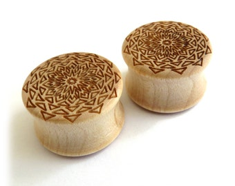 "Thousand Point Mandala Maple Wooden Plugs 5/8"" (16mm) 3/4"" (19mm) 7/8"" (22mm) 1'' (25.5mm) 1 1/8'' (28mm) 1 3/16'' (30mm) 1 1/4'' (32mm) +"