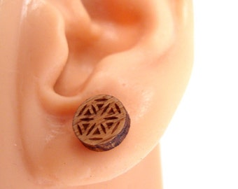 Flower of Life Sustainable Wooden Post Earrings - Small - Oak Wood Studs