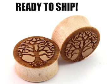 "READY TO SHIP 7/8"" (22mm) Maple Tree of Life Wooden Plugs - Pair - Premade Gauges Ship Within 1 Business Day!"