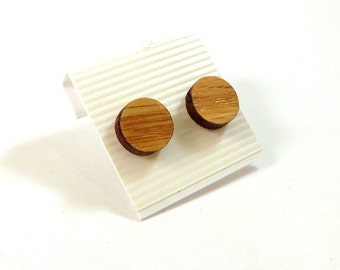 Simple Circle Sustainable Wooden Post Earrings - Small - Oak Round Dot Wood Studs