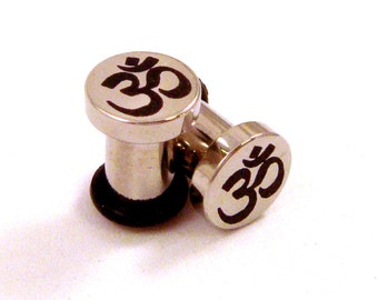 Om Surgical Steel Plugs - Single Flared - 8g (3mm) 4g (5mm) 2g (6mm) Ohm Symbol Metal Ear Gauges