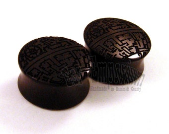 "Deathstar Ebony Wooden Plugs - PAIR - pick a size up to 1 3/4"" (44mm) incl 1 1/4"" (32mm) 1 1/2"" (38mm) 1 3/4"" Organic Wood Ear Gauges"