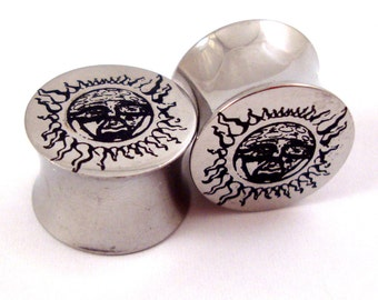 "Subliminal Sun Surgical Steel Plugs - Double Flared - 0g (8mm) 00g (10mm) 7/16"" (11 mm) 1/2"" (13mm) 9/16"" (14mm) Metal Gauges"