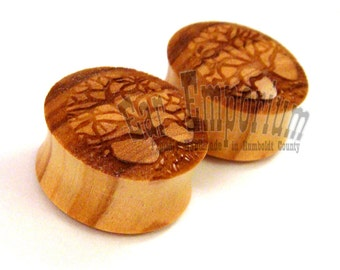 "Tree of Life Olivewood Wooden Plugs PAIR - 0g (8mm) 00g (9mm) (10mm) 7/16"" (11mm) 1/2"" (13mm) 9/16"" 14mm 5/8"" 16mm 3/4"" 19mm Wood Ear Gauges"