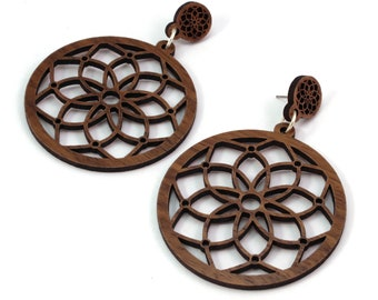 Dream Catcher Sustainable Wooden Post Earrings - 2 inch - Walnut, Oak, Red-Stained Maple