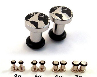 Globe Surgical Steel Plugs - Single Flared - 8g (3mm) 6g (4mm) 4g (5mm) 2g (6mm) Single Flare Metal Earth World Planet Ear Gauges