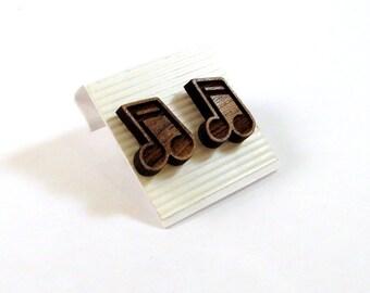 Music Note Walnut Wooden Post Earrings - Sustainable Wood Ear Studs
