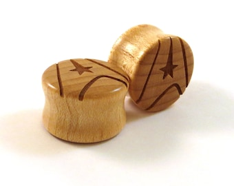 "Trekkie Overload Maple Wooden Plugs - PAIR - 0g 8mm 00g 9mm 10mm 7/16"" 11mm 1/2"" 13mm 9/16"" 14mm 5/8"" 16mm 3/4"" 19mm 7/8"" and up Ear Gauges"