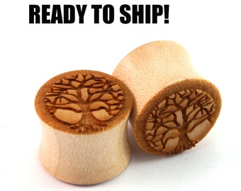 "READY TO SHIP 9/16"" (14mm) Maple Tree of Life Wood Resin Stain Wooden Plugs - Pair - Premade Gauges Ship Within 1 Business Day!"
