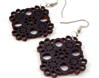 Lace Design Wooden Hook Earrings - in Black Stained Maple Sustainably Harvested Wood Dangle Earrings - Gift for Her