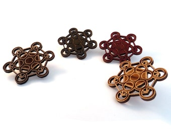 10 PACK of Fruit of Life Hat Pins - Sustainably Harvested Wood; Oak, Walnut or Red Stained Maple - Sacred Geometry Wooden Pins for vendors