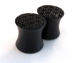 "Flower of Life Ebony Wooden Plugs - PAIR - 0g (8mm) 00g (9mm) (10mm) 7/16"" (11mm) 1/2"" (13mm) 9/16"" (14mm) + Sacred Geometry Wood Ear Gauges"