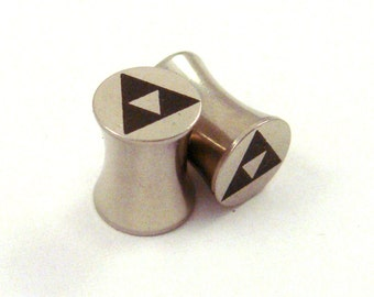"Tri Force Surgical Steel Plugs - Double Flared - 2g 0g 00g 7/16"" (11 mm) 1/2"" (13mm) 9/16"" (14mm) Triforce Gamer Metal Gauges"