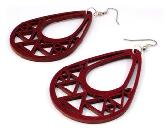 Triangle Teardrop Hook Earrings in Red Stained Maple - 2 Sizes Available - Sustainably Harvested Wooden Tear Drop Dangle Earrings
