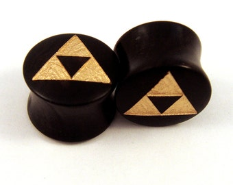 "Gold Tri Force Ebony Wooden Plugs PAIR - 2g to1 1/2"" (38mm) incl 5/8"" 16 mm 17.5mm 3/4"" 19mm 20.5mm 7/8"" 22mm 1"" 28mm Golden Wood Ear Gauges"