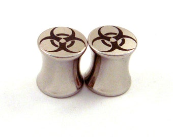 "Bio Hazard Surgical Steel Plugs - Double Flared - 2g 0g 00g 7/16"" (11 mm) 1/2"" (13mm) 9/16"" (14mm) Biohazard Symbol Metal Gauges"