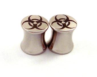 "Bio Hazard Stainless Steel Plugs - Double Flared - 2g 0g 00g 7/16"" (11 mm) 1/2"" (13mm) 9/16"" (14mm) Symbol Metal Gauges"