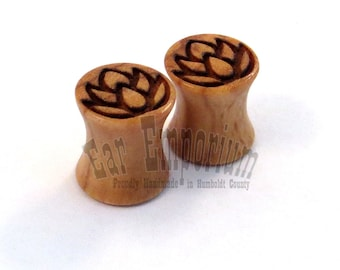 "Lotus Flower Olivewood Wooden Plugs PAIR 2g (6.5mm) 0g (8mm) 00g (9mm) (10mm) 7/16"" (11mm) 1/2"" (13mm) 9/16"" 14mm 16mm 19mm Wood Ear Gauges"