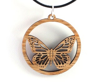 Monarch Butterfly Wooden Pendant - Oak, Walnut, Red or Black Stained Maple - Sustainable Wood Jewelry - 2 Sizes - SHIPS FREE