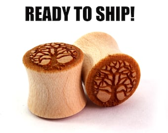 "READY TO SHIP - 7/16"" (11mm) Maple Tree of Life Wooden Plugs - Hand Turned - Premade Gauges Ship Within 1 Business Day!"