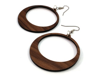 Sustainable Wooden Hook Earrings - Hoops - Sustainably Harvested Walnut Wood Dangle Earrings - 2 Sizes