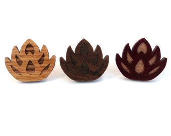 10 Pack SALE Lotus Flower Hat Pins - Sustainably Harvested Oak, Walnut or Red Stained Maple - wholesale bulk lot for stores vendors buyers