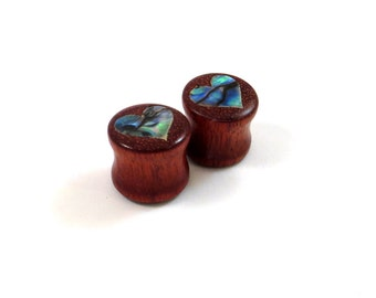 "Abalone Heart on Bloodwood Inlay Plugs - PAIR - 0g (8mm) 00g (9mm) (10mm) 7/16"" (11mm) 1/2"" (13mm) 9/16"" 14mm 5/8"" 16mm and up Wooden Gauges"