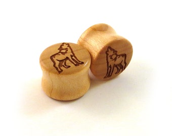 "Howling Wolf Maple Wooden Plugs - PAIR - 7/16"" (11mm) through 1 3/4"" (44mm) including 1/2"" 9/16"" 5/8"" 11/16"" 3/4"" 13/16"" 7/8"" Ear Gauges"