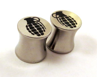 "Grenade Steel Double Flared Plugs - 2g (6mm) 0g (8mm) 00g (10mm) 7/16"" (11 mm) 1/2"" (13mm) 9/16"" (14mm) 5/8"" (16mm) Bomb Metal Ear Gauges"