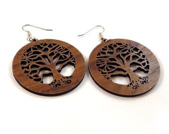 Tree of Life Sustainable Wooden Earrings - in Walnut - Wood Dangle Hook Earrings