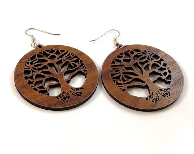 Featured listing image: Tree of Life Sustainable Wooden Earrings - in Walnut - Wood Dangle Hook Earrings