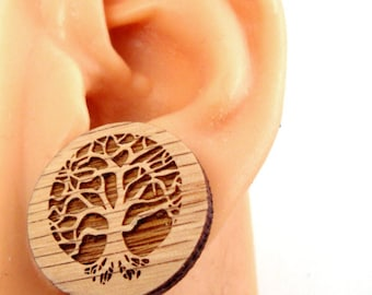 Large Tree of Life Sustainable Wooden Post Earrings - Oak Wood Studs