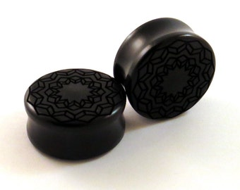 "Cubic Star Mandala Ebony Wooden Plugs PAIR - 1/2"" (13mm) 5/8"" (16mm) 3/4"" (19mm) 7/8"" (22mm) 1"" (25.5mm) to 1 3/4"" Geometric Wood Ear Gauges"
