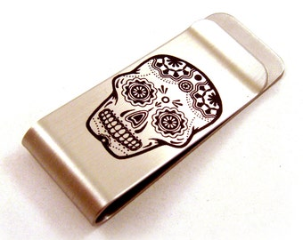 Sugar Skull Stainless Steel Money Clip