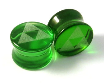"Triforce Green Glass Plugs - PAIR - 0g (8mm) 00g (9mm) (10mm) 7/16"" (11mm) 1/2"" (13mm) 9/16""(14mm) 5/8""(16mm)+ Tri Force Ear Gauges"