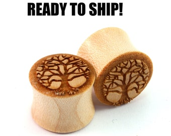 "READY TO SHIP 9/16"" (14mm) Maple Tree of Life Wooden Plugs - Pair - Hand-Turned - Premade Gauges Ship Within 1 Business Day!"