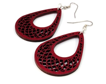 Teardrop Dreamcatcher Hook Earrings in Red Stained Maple - 2 Sizes - Sustainably Harvested Dangle Earrings