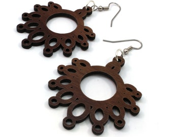 Sustainable Wooden Earrings - Dripping Loops - in Walnut - Hook Dangle Drop Wood Earrings