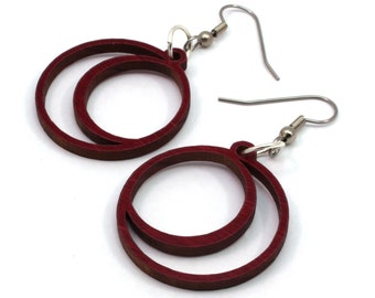 Sustainable Wooden Hook Earrings - Crescent Moons - in Red-Stained Maple, Oak, Walnut, Black-Stained Maple Wood - 2 Sizes - Made in PA