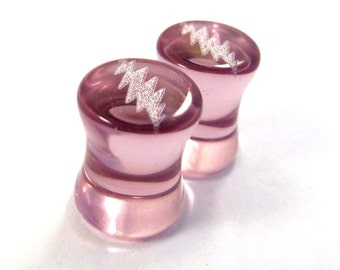 "13 Point Bolt Purple Glass Plugs - 2g (6mm) 0g (8mm) 00g (9mm) (10mm) 7/16"" (11mm) 1/2"" (13mm) 9/16"" (14mm) Ear Gauges"