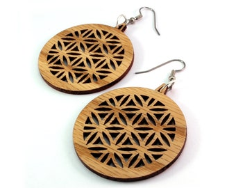 "Flower of Life Wooden Hook Earrings Large (1.75"") - Made of Sustainable Oak, Walnut, Red or Black Stained Maple Wood Dangle Earrings"