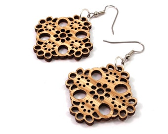 Sustainable Wooden Earrings - Lace - Sustainably Harvested Oak Wood Dangle Earrings