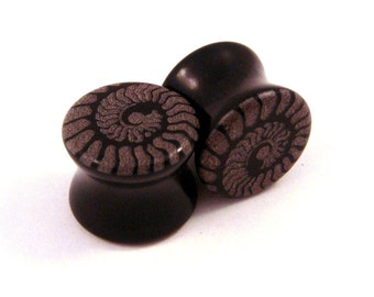 "Ammonite Black Glass Plugs - PAIR - 0g (8mm) 00g (10mm) 3/4"" (19mm) 1"" (25mm)Ear Gauges"