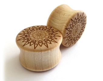 "Bursting Sun Mandala Maple Wooden Plugs 5/8"" (16mm) 3/4"" (19mm) 7/8"" (22mm) 1'' (25.5mm) 1 1/8'' (28mm) 1 3/16'' (30mm) 1 1/4'' (32mm) +"