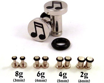 Music Notes Single Flared 316L Surgical Steel Plugs - 8g (3mm) 6g (4mm) 4g (5mm) 2g (6mm) Musician Single Flare Metal Ear Gauges