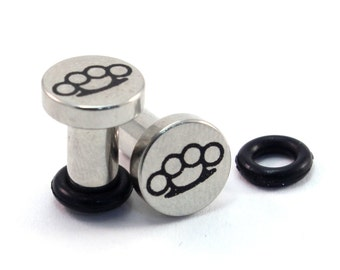 Brass Knuckles Surgical Steel Plugs - Single Flared - 8g (3mm) 6g (4mm) 4g (5mm) 2g (6mm) Metal Ear Gauges