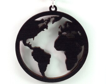 Globe Wooden Pendant - Black Stained Maple - Sustainable Wood Jewelry - 2 Sizes - Planet Earth - SHIPS FREE