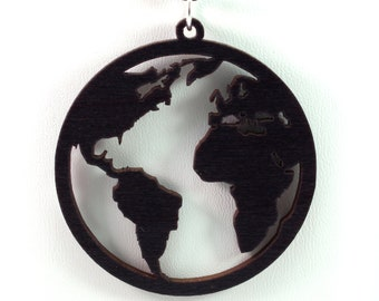 Globe Wooden Pendant - Black Stained Maple - Sustainable Wood Jewelry - 2 Sizes - Planet Earth - Gift for Her - Gift for Him - SHIPS FREE
