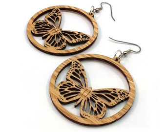 "Monarch Butterfly Sustainable Wooden Hook Earrings - Oak, Walnut, and Black or Red-Stained Maple Wood Dangle Earrings - in 2"" or 1.5"""